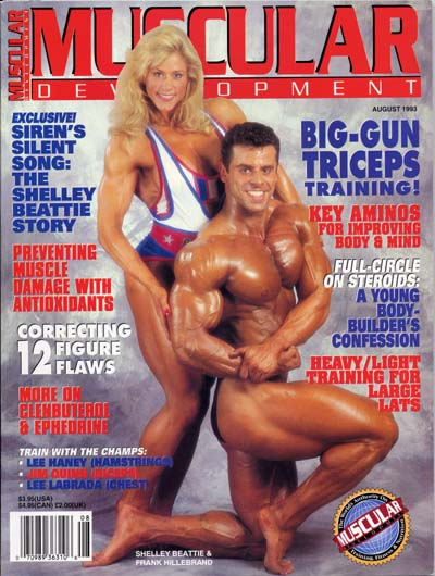 Shelley Beattie on cover - Muscular Development Magazine August 1993