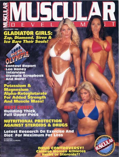 Shelley Beattie on cover - Muscular Development Magazine February 1994