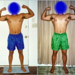 Front Double Biceps - Before and After - Week 1 (left) vs Week 3 (right)